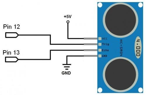 схема подключения HC-SR04