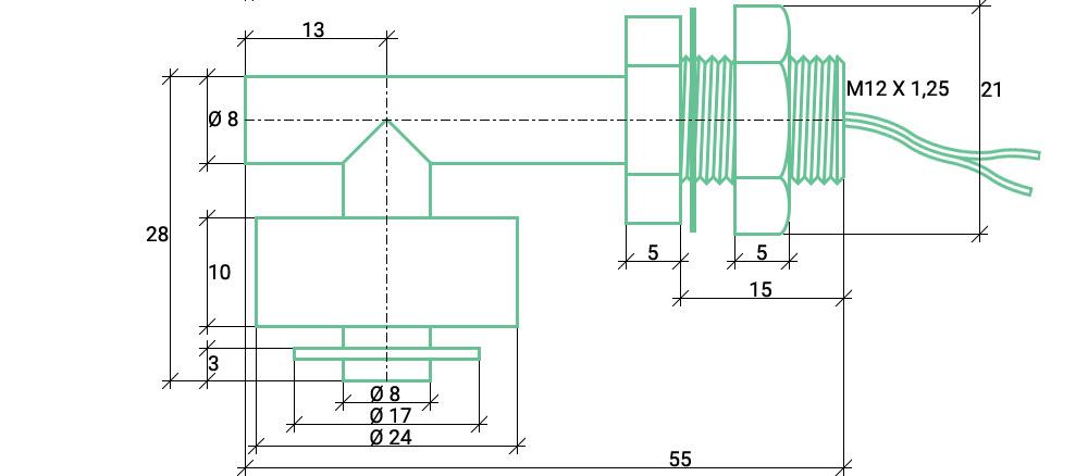 Размеры углового датчика уровня воды