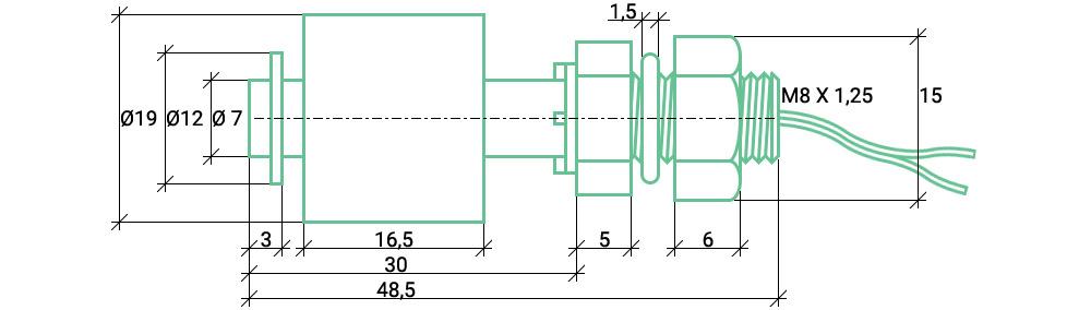 Размеры (кабариты) датчика уровня воды