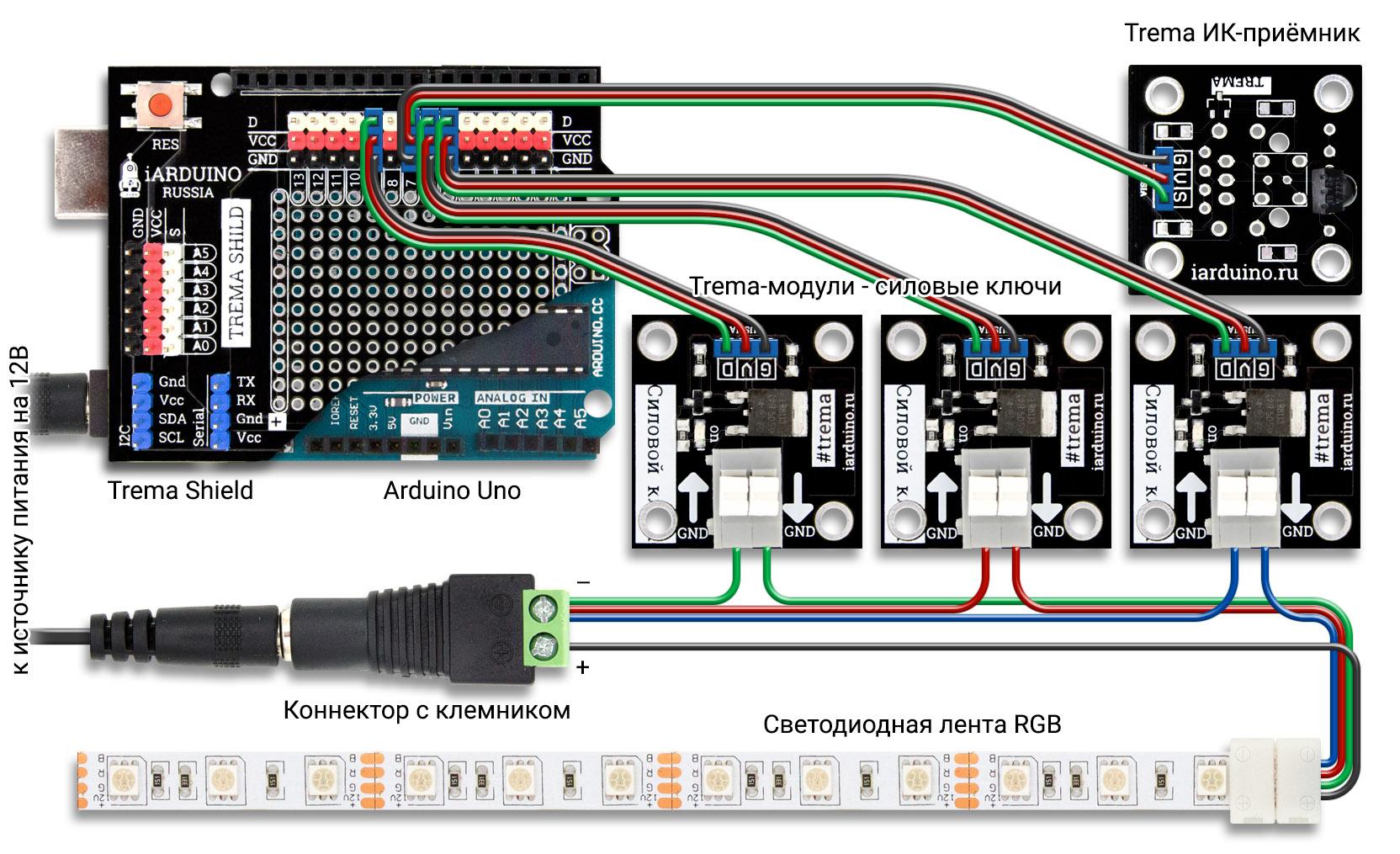 Схема дистанционного управления RGB лентой с ИК-пульта