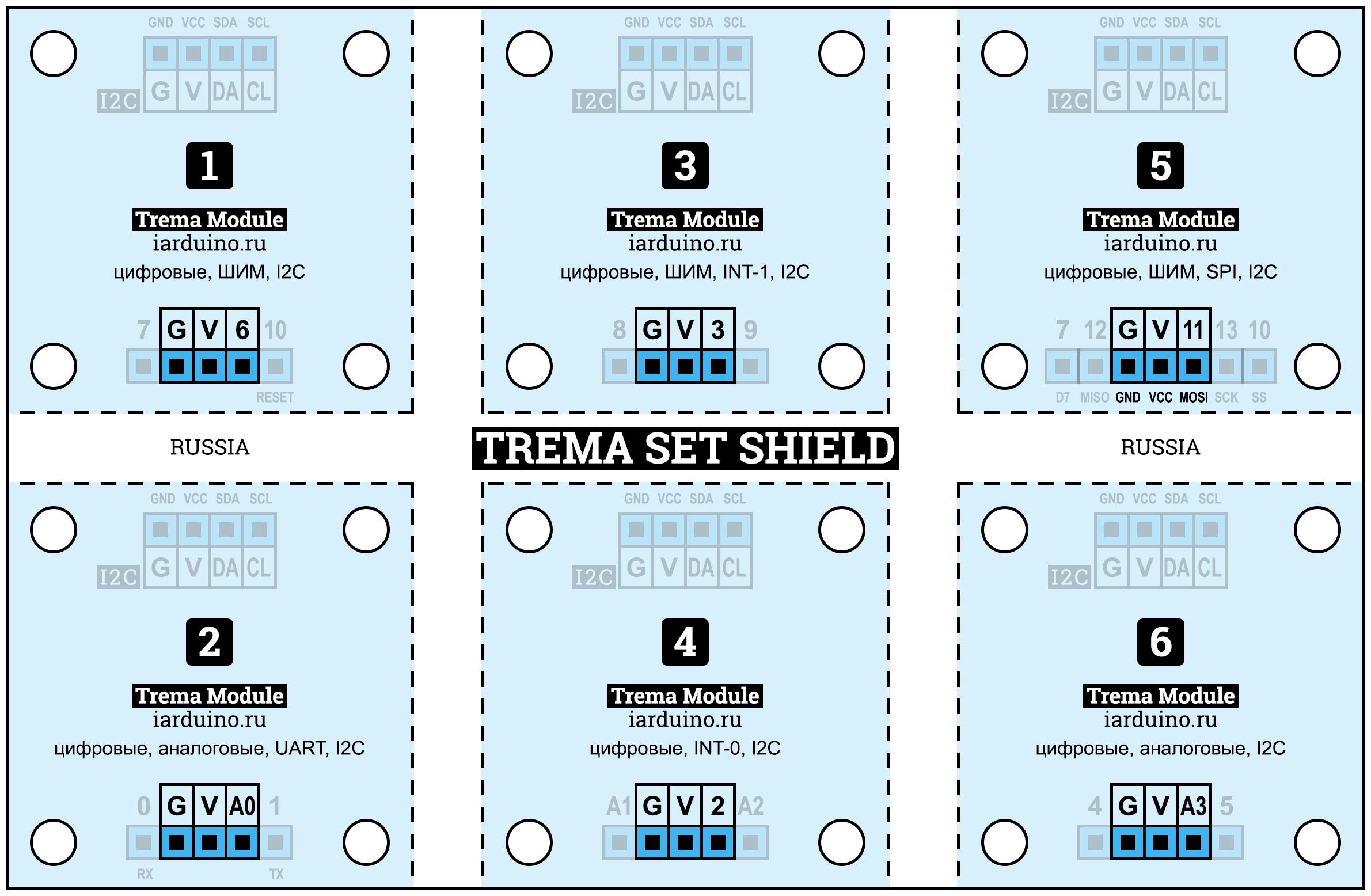 Схема подключения цифровых модулей с 3 выводами к Trema Set Shield