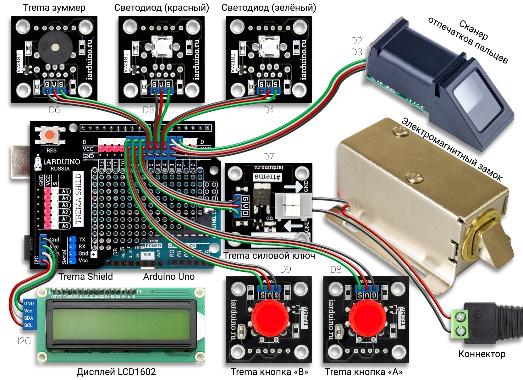 Контроль доступа по отпечатку пальца - схема на arduino