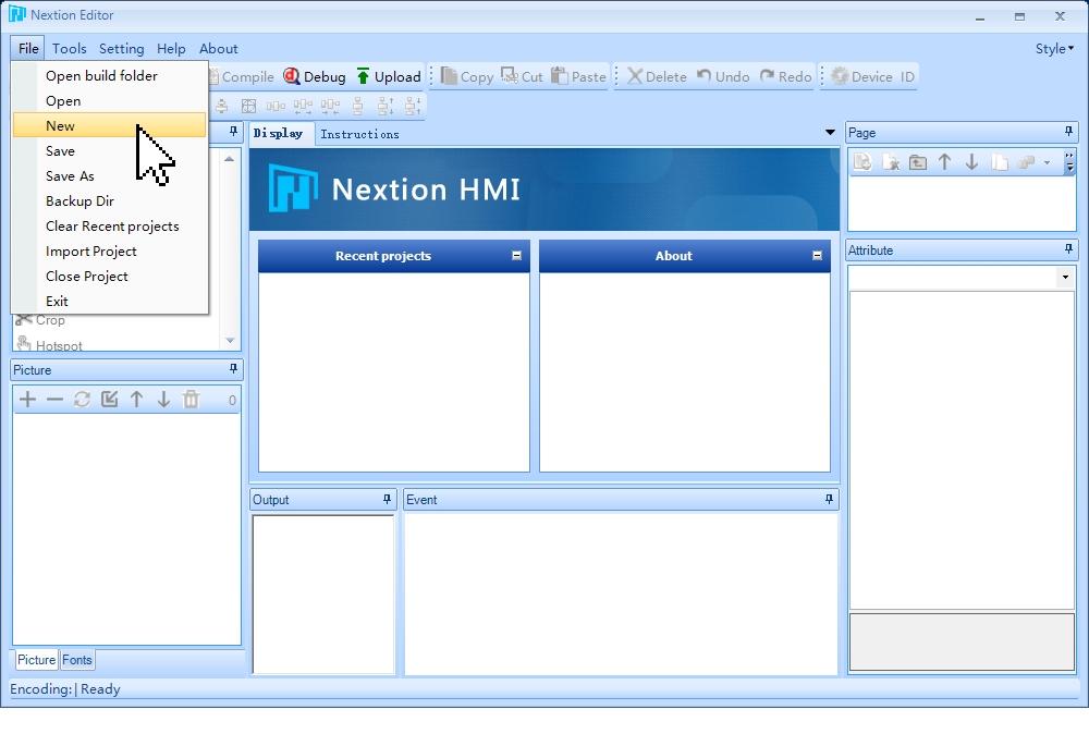 Создание нового проекта в программе Nextion Editor