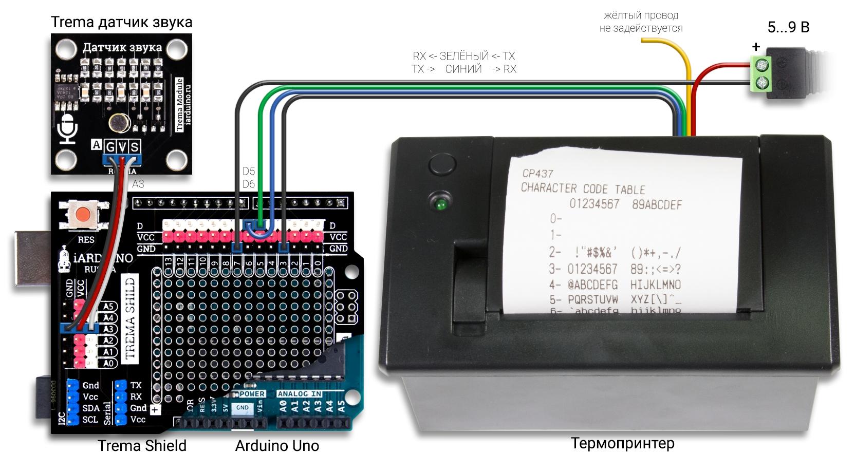 Декодер азбуки Морзе на Arduino UNO с выводом данных в термопринтер