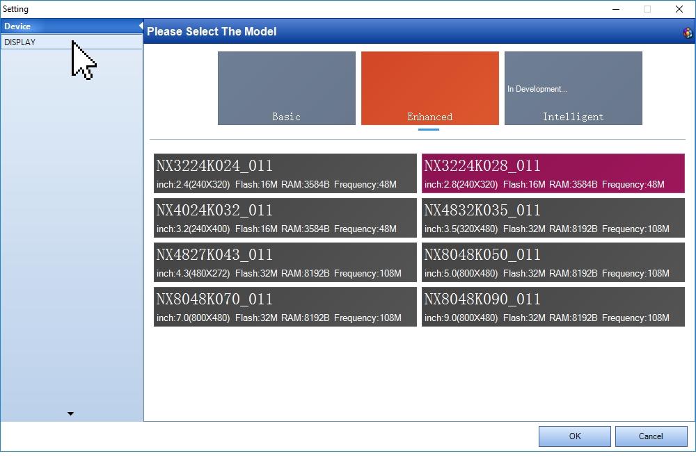 Выбор типа дисплея в программе Nextion Editor