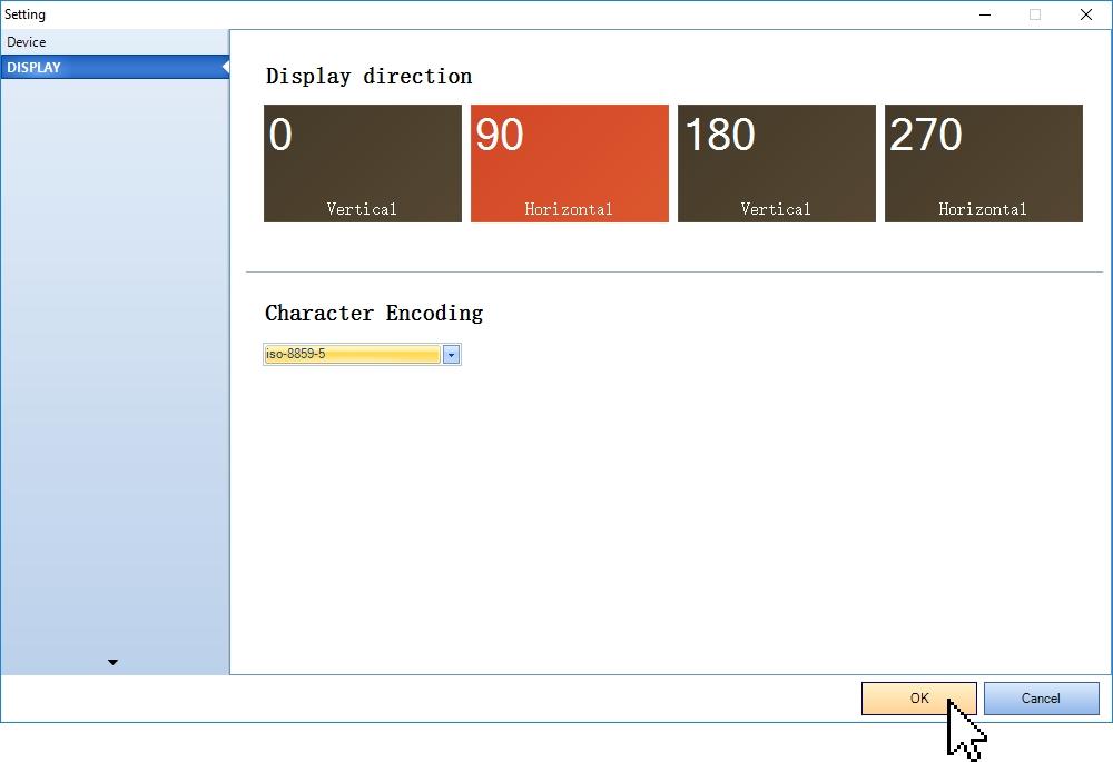 Выбор ориентации дисплея и типа кодировки в программе Nextion Editor