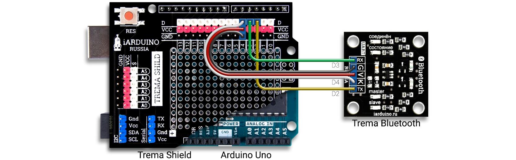 Подключение Trema Bluetooth модуля к Arduino