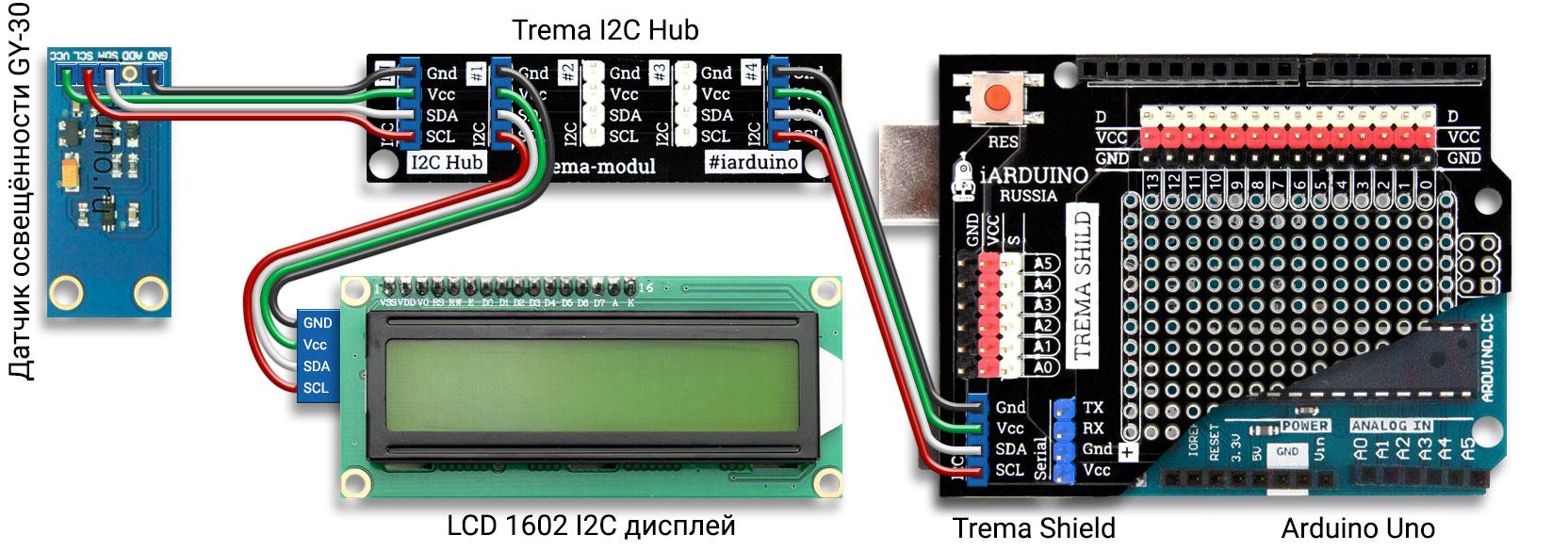 Схема для определения параметров ламп собранная на Arduino Uno