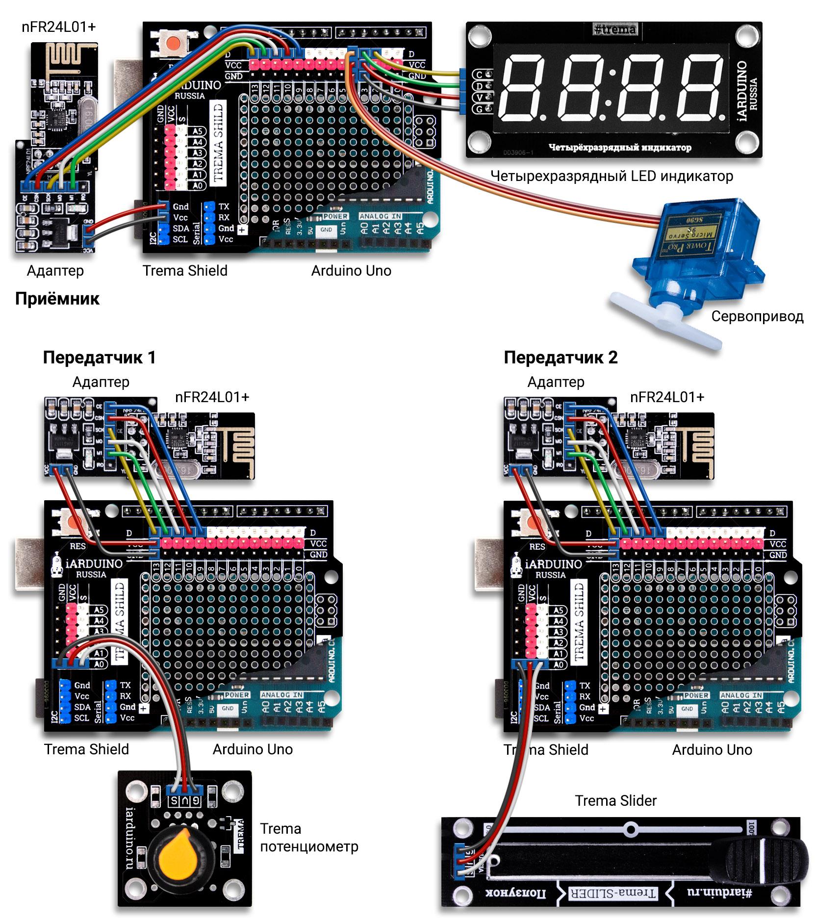 Схема соединения нескольких arduino по радиоканалу