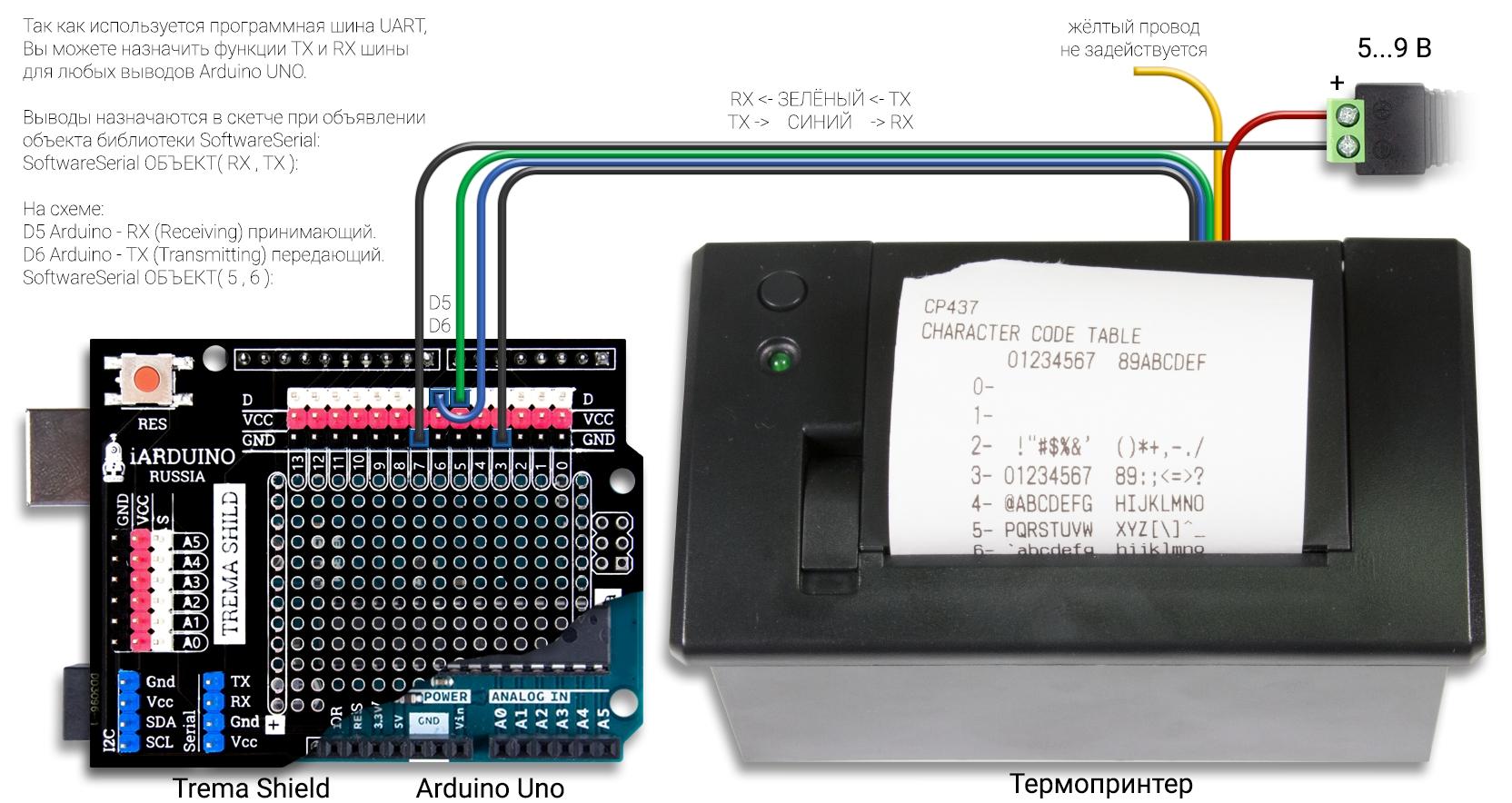Подключение термопринтера к Arduino UNO