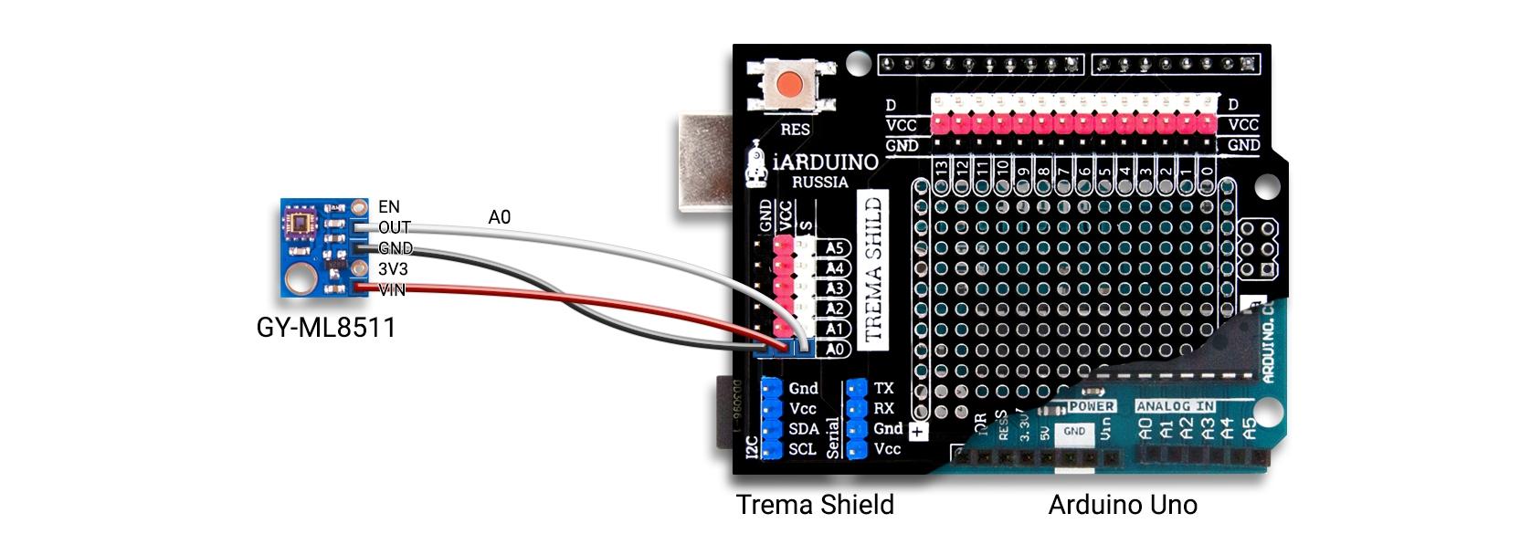 Подключение датчика GY-ML8511 к Arduino