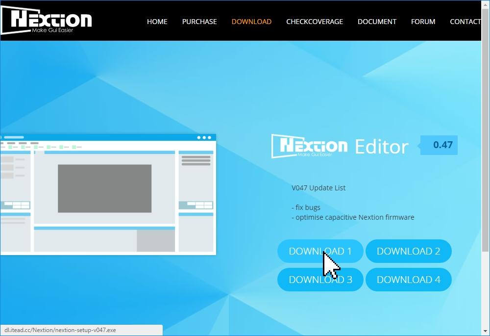 Загрузка программы Nextion Editor