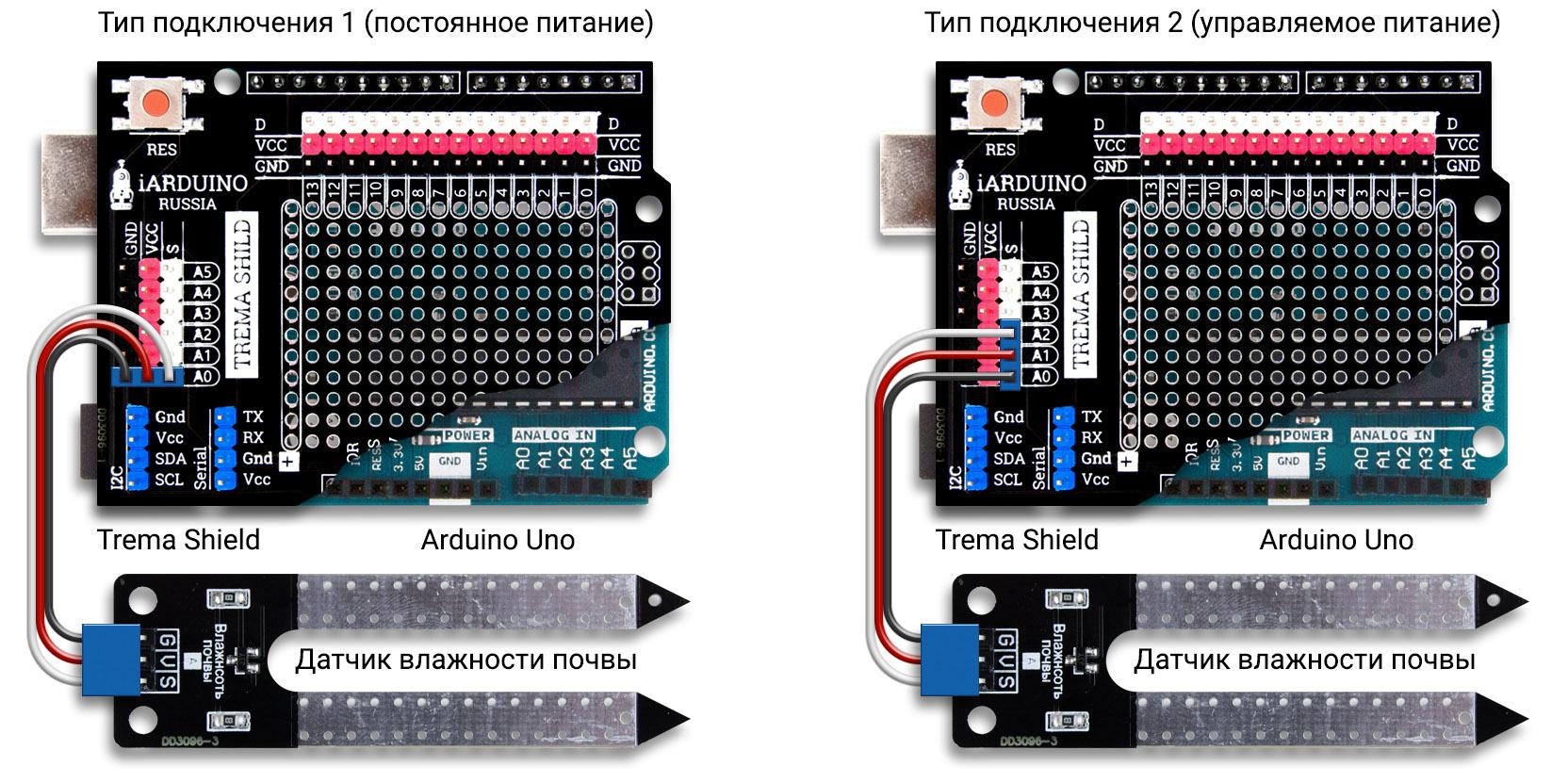 Схема подключения датчика влажности почвы к Arduino Uno