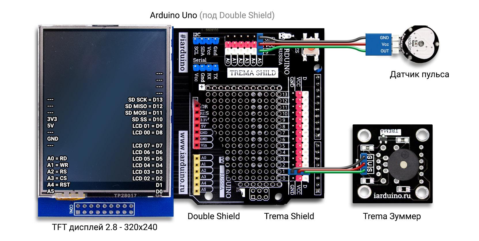 Схема подключения пульсометра к Arduino Uno
