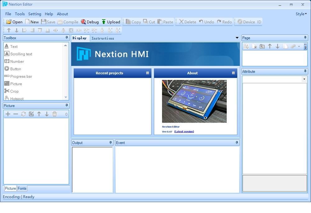 Запуск программы Nextion Editor