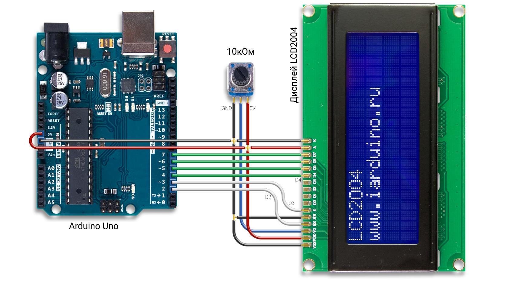 Подключение дисплея LCD2004 к Arduino