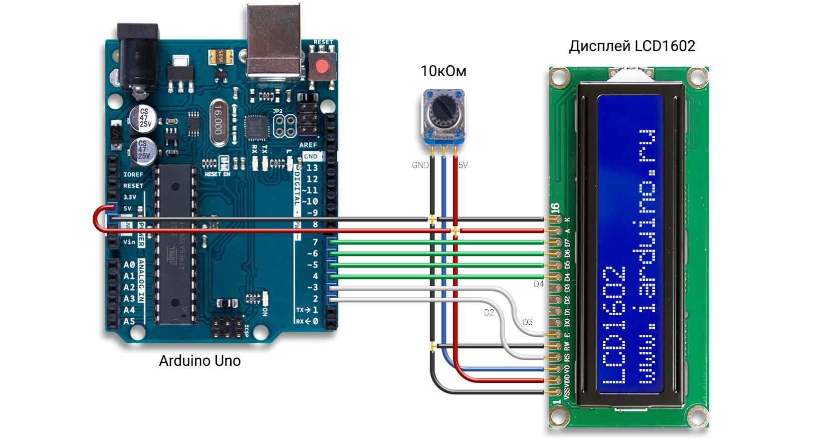 Подключение дисплея LCD1602 к Arduino