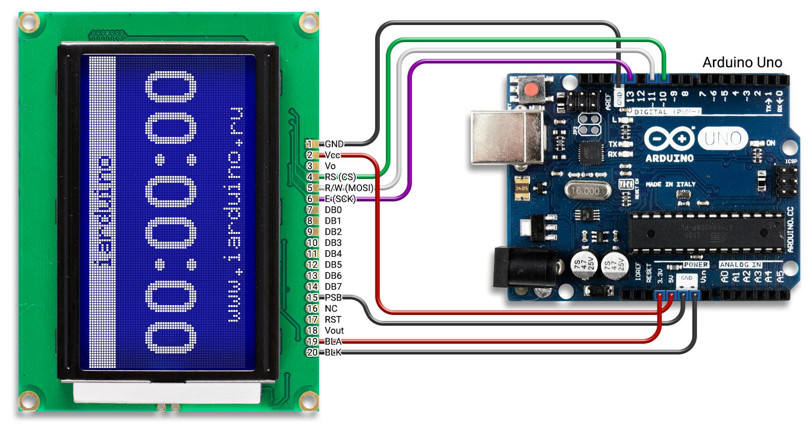 Подключение дисплея 128 64 к Arduino